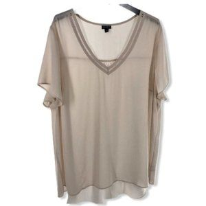 Torrid Short Sleeve Cream Sheer V-Neck Blouse 3X